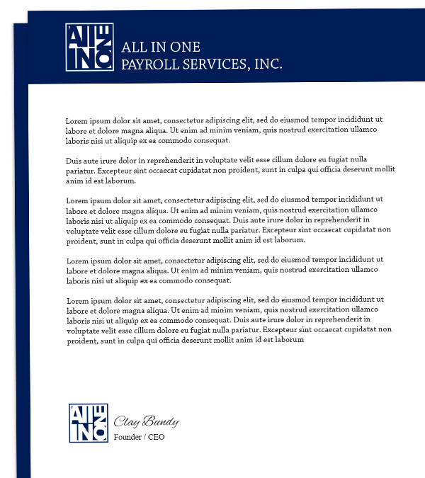 All in One Payroll Services Letter head